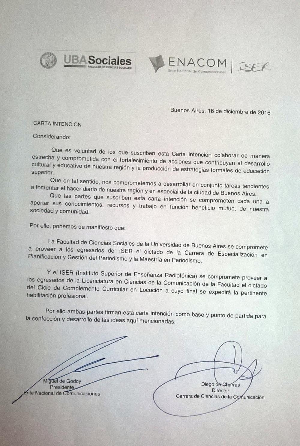 Carta de intención de la Maestría en la UBA